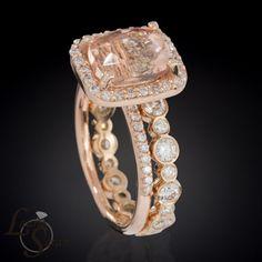 Morganite and Rose Gold Engagement Ring and Wedding Set with Bezel Set Diamond Eternity Wedding Band - LS3353