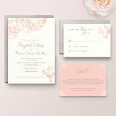 Elizabeth Suite - Digital Printable DIY, Vintage, peony invitation, blush pink invitation, peach Invitation, coral, botanical flowers