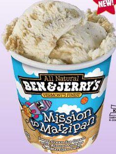 Mission to Marzipan: Sweet cream ice cream with almond cookies and a marzipan swirl. Sweet Cream Ice Cream, Ice Cream Menu, Ice Cream Tubs, Ice Cream Stand, Yummy Ice Cream, Ice Cream Desserts, Homemade Ice Cream, Milka Chocolate, Chocolate Sugar Cookie Recipe