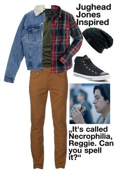 """Jughead Jones"" by tinuskaaaa ❤ liked on Polyvore featuring Urban Pipeline, J.Crew, Converse, men's fashion and menswear"