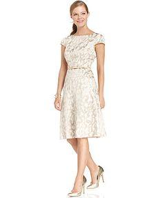 Anne Klein Dress, Cap-Sleeve Jacquard A-Line Rehearsal dinner dress