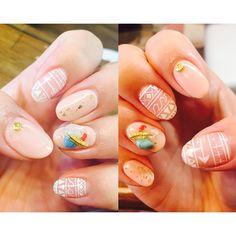 new nail ✩✩✩んもぉー可愛すぎてお気に入りめみちゃんありがとうです * * #ネイル#春ネイル#手描きネイル#ターコイズネイル#ターコイズ#天然石#フェザー#シェル#金箔#ベビーピンク#好きなもの詰め込みネイル#最高#可愛いしかない#nail