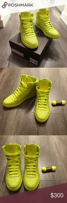 Gucci Coda Neon Leather High-Top Sneaker, Green Worn once! Basically brand new w/ Extra shoe laces. Gucci Shoes Athletic Shoes