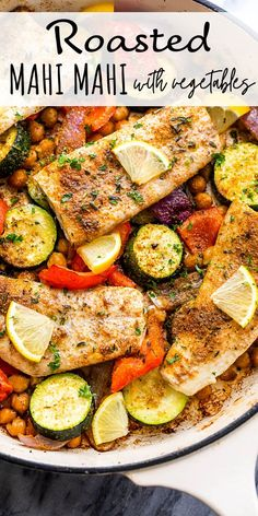 This easy Baked Mahi Mahi with Veggies is an all-in-one healthy dinner that's very easy to make and it tastes SO GOOD! Best Seafood Recipes, Healthiest Seafood, Shrimp Recipes Easy, Baked Salmon Recipes, Easy Delicious Recipes, Easy Dinner Recipes, Healthy Recipes, Easy Recipes, Dinner Ideas