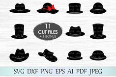Hat svg, Hats clipart, Hat svg file, Top hats photo booth, Cowboy hat, Top hat svg, Woman hat cricut, Hat svg design Hat svg bundle, Party hat