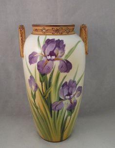 Beautiful Nippon Vase Purple Iris Flowers two handle blue maple leaf mark