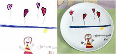 Assiette réalisée par Cyndy Ochoa, lartiste-reproductrice de LE MONDE DE CYNO, inspirée par les illustrations qui PUNCH LOEIL du PETIT ARTISTE «PUNCHEUR», Éloi, l'un des GRANDS GAGNANTS DU PREMIER CONCOURS POUR UNE FÊTE DES MÈRES QUI PUNCH LŒIL !