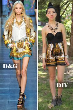With designer-inspired satin scarves being readily available all over the place (from your fast fashion retailers to vintage shops), the materials for this DIY should be easy to gather up. I'm going to show you today how to transform any giant silk scarf into a cute pair of scarf shorts.