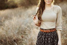 Simple girl fashion hair girl outdoors nature sun beauty skirt style
