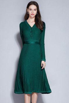 Long Sleeve Pleated Swing Dress womens swing dress vintage dresses 1950s plus  size swing dress vintage 3641a31a83b0