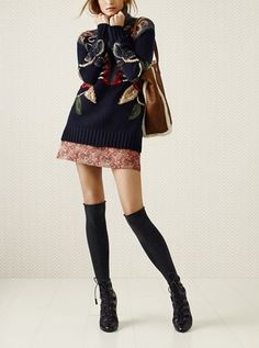 Hooked on fall fashion! Tory Burch turtleneck & A-line skirt.