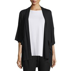 Eileen Fisher 3/4-Sleeve Kimono Cardigan (£150) ❤ liked on Polyvore featuring plus size women's fashion, plus size clothing, plus size tops, plus size cardigans, black, 3/4 length sleeve tops, eileen fisher tops, 3/4 sleeve tops, kimono sleeve top and jersey cardigan