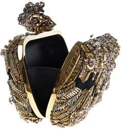 { Alexander Mcqueen The Skull Embellished Box Clutch in Gold  }