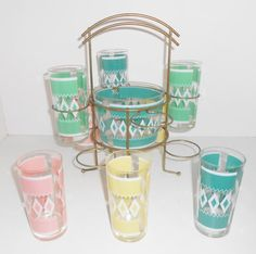 RESERVED FOR Jodie  Mid Century Tumbler Glasses & Caddy Pink Green Yellow Mad Men Set Of 8 With Bucket