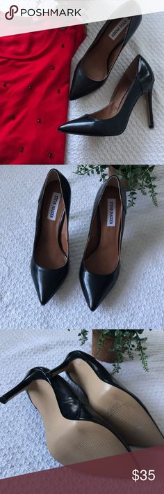 Steve Madden Black Pointed Toe Heels Never worn- Black Pointed Toe Stilettos.   I purchased these at marshals wanting them to work, however they are just too big for my feet. True 8.5!    Perfect condition.  Perfect for any occasion and outfit.   Just asking what I paid for them.  So firm on price, unless bundled.  Thank you! 🤗 Shoes Heels