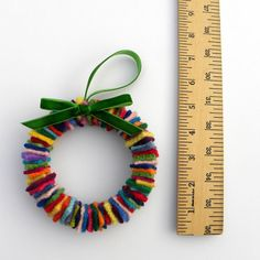 Rescued Wool Wreath Ornament Skinny Multi with by aliciatodd