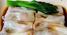 "One of my favourite dim sum dishes is steamed rice noodle rolls with prawns (har cheong fun).  We order this every time we go to yum cha (""d..."