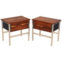 Chrome, Imbuia & black leather night stands/side tables | From a unique collection of antique and modern night stands at http://www.1stdibs.com/furniture/tables/night-stands/