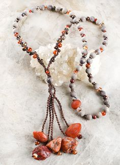'Creative Heart' ~ Carnelian stone talisman with wooden beads