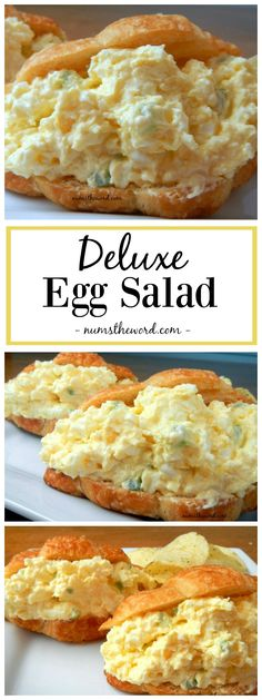 Looking for an upgrade on the traditional egg salad? Looking for an upgrade on the traditional egg salad? Try this Deluxe Egg Salad! It includes cream cheese grated onions and is by far my favorite version of egg salad! Croissant Sandwich, Soup And Sandwich, Sandwich Ideas, Egg Salad Sandwich Recipe With Pickles, Egg Salad With Cream Cheese Recipe, Egg Salad Sandwhich Recipe, Chicken Salad With Eggs, Egg And Olive Salad Recipe, Cream Chesse Recipes