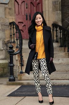 English mustard sweater with spot print pants:)
