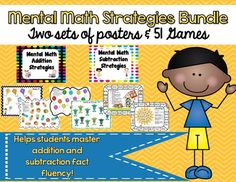 Save $5 by buying this bundle! Get everything you need in this bundle to teach students mental math strategies. Included are mental math addition and subtraction strategies posters, as well as bump games, roll & cover games, and game board.