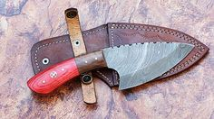 Specification length inches Handle are made of Wood Mosaic pin Blade made of Damascus steel with - HRC that produce sharp edge English leather cover of knife also included SHIPPING Cool Knives, Knives And Swords, Trench Knife, Forged Knife, Forging Knives, Tactical Knives, Hard Metal, Best Pocket Knife, Knife Sharpening