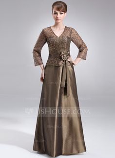 A-Line/Princess V-neck Floor-Length Beading Sequins Zipper Up Sleeves 3/4 Sleeves No Brown General Plus Taffeta Mother of the Bride Dress