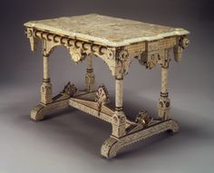 Centre Table Messrs. Allen & Brother Philadelphia, Pennsyslvania ca. 1875 Cherry with opaque white paint, marble. approx. dimensions 32x45x30 Brooklyn Museum