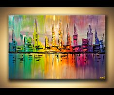 There are many different colors in this painting that blend together making more colors.