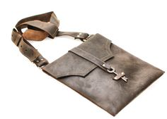 Brown Leather Messenger Bag Distressed Leather by DivinaDenuevo