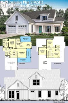 Introducing Architectural Designs Exclusive House Plan This modern farmhouse gives you 4 bedrooms (or 3 Game Room) and has a board and batten exterior with a wraparound porch.Over square feet of heated living space. 6 Bedroom House Plans, Basement House Plans, House Floor Plans, Simple Floor Plans, Garage House, House Plans One Story, Country House Plans, Country Homes, Modern Farmhouse Exterior