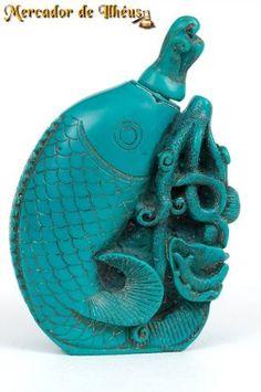 Escultura Tibetana Peixe E Flor Frasco De Perfume Verde Jade Frete Grátis Para Todo O Brasil