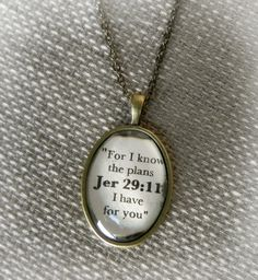 Jeremiah 29:11 Verse Necklace. $15.50, via Etsy.