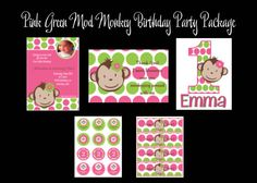 Very cute pink & green Mod Monkey Birthday Party Pack! @cutiepatootienc