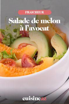 Cette salade de melon à l'avocat est une salade sucrée salée originale ! C'est aussi une solution idéale pour les jours où vous n'avez pas le temps de cuisiner. #salade #melon #avocat #recette #cuisine Solution, Cantaloupe, Future Maman, Fruit, Paris, Recipes, Rice Salad, Chopped Salads, Food Recipes