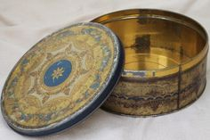 shabby antique tins, 1930s vintage biscuit tins for sewing boxes or buttons