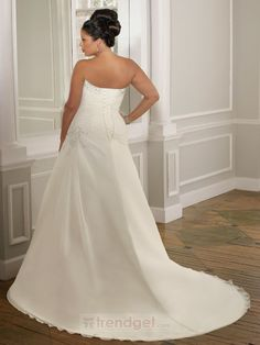 Simple A-line Strapless Floor-length Chiffon White Wedding Dresses - $180.99 - Trendget.com