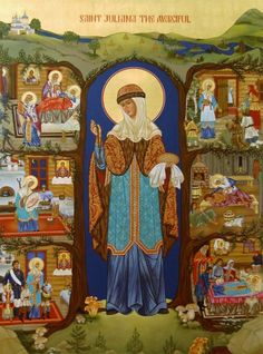 Icon of St. Juliana the Merciful of Lazarevo - (with scenes from her life) - Catholic Saints, Patron Saints, King Josiah, Lives Of The Saints, The Transfiguration, Russian Icons, Religious Icons, Orthodox Icons, Ciel