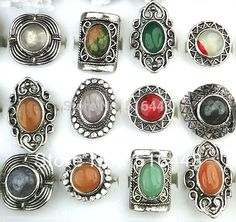 10pcs Wholesale Jewelry Lots Mix Natural Stones Antique Silver Plated Women Mens Adjustable Vintage Rings A-152
