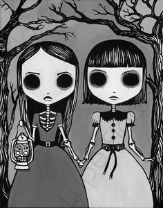 Lupe Flores Creepy Night Art Giclee Fine Art Print by… Creepy Paintings, Paintings Tumblr, Creepy Drawings, Creepy Art, Art Drawings, Creepy Sketches, Emo Kunst, Gothic Kunst, Anime Chibi