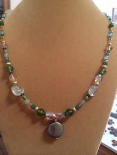 Gorgeous golden green pearl necklace with by RealBeadDesigns