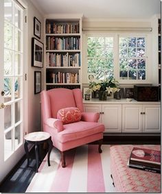 Reading nook...floor to ceiling shelves with larger and roomier chair with ottoman! For Uncle Tommy's room!