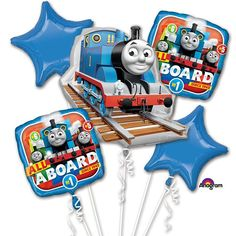 Thomas the Train Birthday Balloons Includes: 1 - Jumbo XL Thomas the Train Foil Balloon 2 - 18 Thomas the Train Foil Balloons 2 - 18 Star Shape Foil Balloons Great for Birthday Party! Please note that balloons do not ship inflated. You need helium. SHIPPING TIME: USPS First