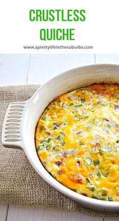 Crustless Quiche // I love these kinds of recipes because they are so versatile. Basically just add ingredients you have around: use leftover ham, or cubed cooked potato, spinach, tomatoes...you name it.