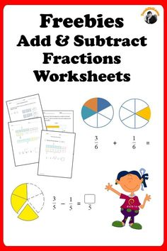 Learn to add, subtract and solve fractions word problems. Add and subtract up to 3 same or different denominators fractions and mixed numbers. Mixed Fractions Worksheets, Free Fraction Worksheets, Add Fractions, Add And Subtract Fractions, Subtraction Worksheets, Adding And Subtracting, Printable Worksheets, Printables, Math Resources