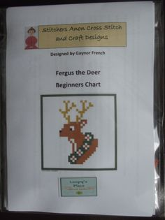 Cross Stitch Card Kit-Fergus The Dear £4.40 - Creative Connections #craftfest