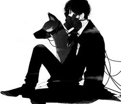 anime boy dog muzzle gas mask black and white Anime Neko, Anime Art, Cool Anime Guys, Cute Anime Boy, Anime Boys, Boy Dog, Girl And Dog, Dark Anime, Anime Gas Mask
