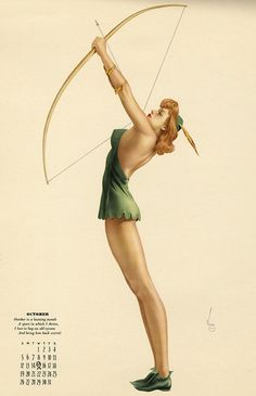 """gmgallery: """"October is a hunting month, A sport in which I thrive, I love to bag an old tycoon, And bring him back alive! Alberto Vargas October 1941 pin-up art for Esquire. Woman Archer, Bow Quiver, Jean Genie, Inspirational Wall Art, Pin Up Art, Esquire, Blog, Pinup, Calendar"""