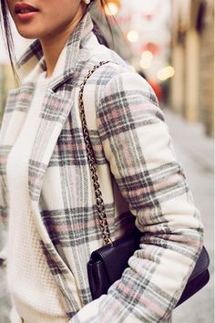 Make a subtle statement with light plaid wool coats for Winter.